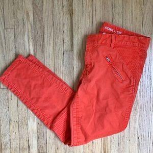 GAP Orange Skinny Mini Moto Khakis